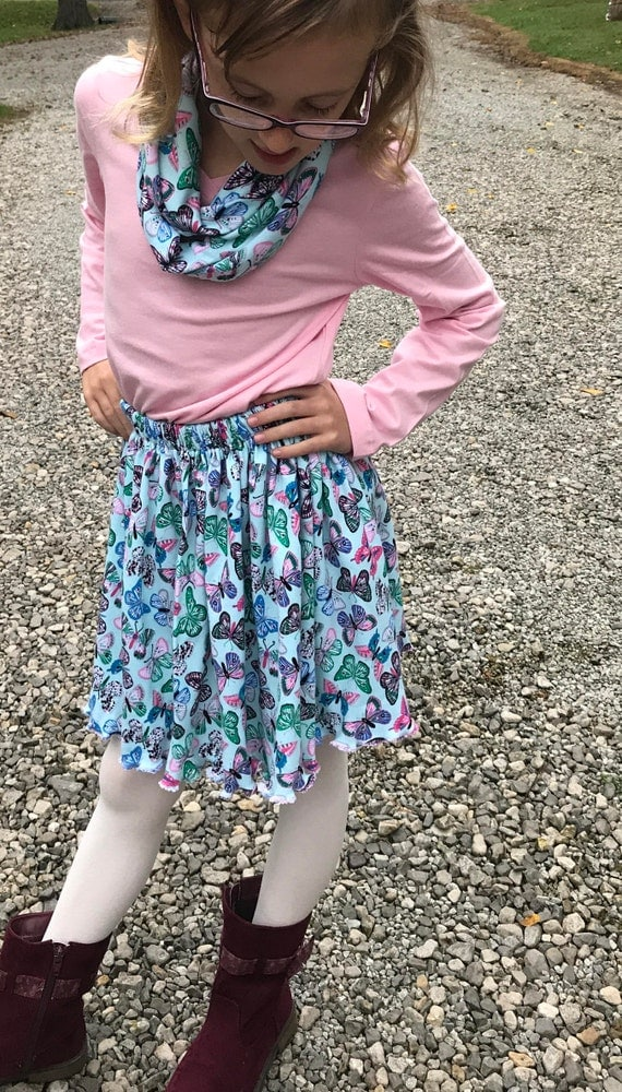 Girls skirt,girls knit skirt,9 patterns,girls skirt and matching infinity scarf,butterfly skirt,flower skirt,junior skirt,knit skirt,
