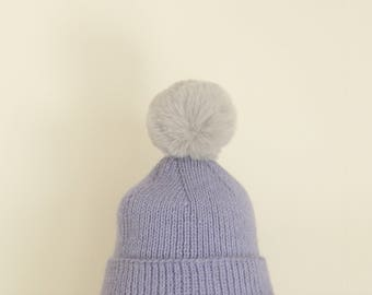 Cozy Handmade Italian Merino Wool & Alpaca Rib Knit Beanie Hat with Fur Pom-pom (Lavender/Grey)
