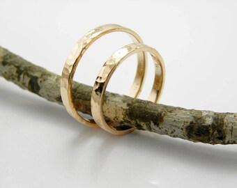 Gold wedding bands set-14k solid rose gold-2 mm x 1.5 mm -Hammered shinny finish.