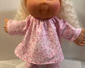 """Cabbage Patch 14 inch BABY or Smaller 14"""" KIDs Doll, PINK & White STARS"""" 2-Piece Pajamas, 14 inch Cabbage Patch Baby Clothes, Ready for Bed!"""