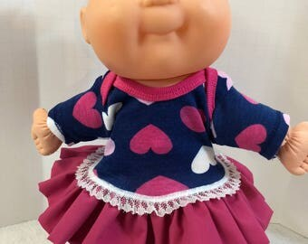 """Cabbage Patch NEWBORN 12 inch Doll Clothes, Pretty """"HEARTS"""" Ruffle & Lace Trim Dress, 12 inch Newborn CPK Doll Clothes, Love My Dolly!"""