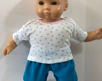 "15 inch Bitty Baby Clothes, 2-Piece Outfit, Cute ""White w/BLUE POLKA Dots"" Top, Blue Pants, 15 inch Bitty Baby and Twin Doll, American Doll"