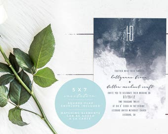 Watercolor Wedding Invitation, Printed and Printable 5X7 Wedding Invitation & Envelope, Midnight Moonlight