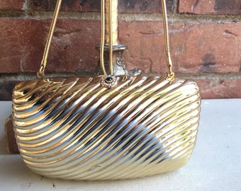 RARE 1960's Gold Saks Fifth Ave Metal Serpent Evening Purse Made in Italy