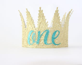 Gold ONE First Birthday Crown - Aspen - Birthday Crown - Customizable for any age - Lace Crown Photography Prop - Mini Tiara Crown