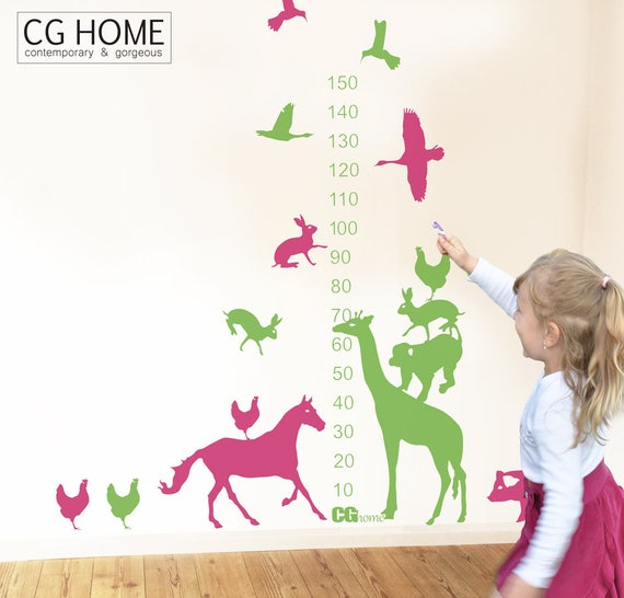Animals Tower Growth Chart Wall Decal Ruler Scandinavian Wall Sticker Removable Self Adhesive for children Kids Room Decor Playroom NURSERY