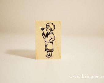 Boy & Bee / Original Rubber Stamp / Designed by Krimgen