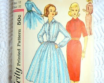 Vintage 1950's Simplicity 2149 Sewing Pattern -Shirt Dress Size 12 Bust 32