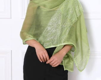 Green color scarf, Green lace scarves, scarf for bridesmaid, wedding shawl, scarf for out going night