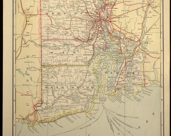 TWO SIDED Antique Road Map Rhode Island Map Highway Roadway Original
