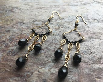 Black onyx and black spinel gemstone gold chandelier earrings