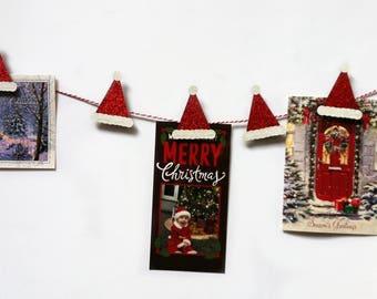 Christmas Card Holder - Merry Mail Sign - Santa Hat - Christmas Card Display - Christmas Card Garland - Holiday Card Holder - Card Organizer