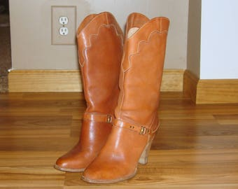 Vintage Brown Leather Mid Calf Western Boots~5.5~