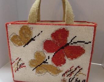 Vera Neumann Tote Hand Made Tote Needlepoint Stitching Orange Butterflies Gold Butterflies Beige Butterflies Ladies Accessories Vintage Tote