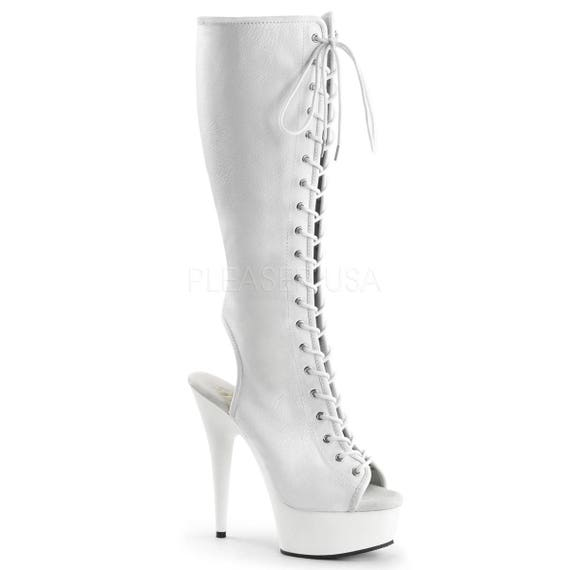 Sassy White Peep Toe Open Heel Front Lace-Up Knee High Boots