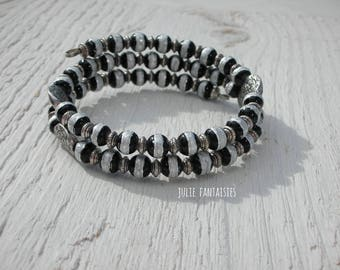 Bracelet * black and silver * Bracelet shape memory