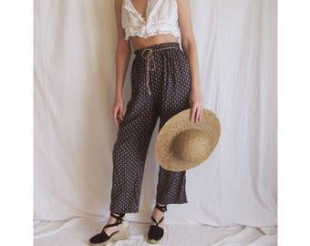 90s High Waist Cotton Trousers XS S M