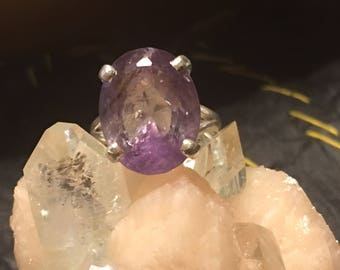 Natural Amethyst Purple Crystal Phantom Basket Setting 92.5 Silver Ring US SIZE 6 3/4