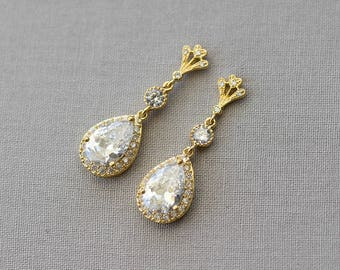 Bridal Earrings, Wedding Earrings, Rhinestone Earrings - Eloise