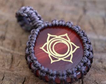 Carnelian Agate Macrame Pendant / Stone Pendant