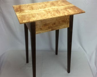 Curly Cherry and Black Walnut Lamp Table