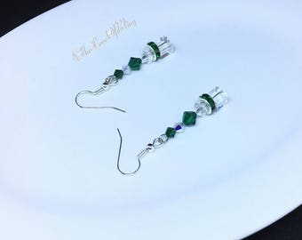 Drop Earrings made with Swarovski Crystals in Emerald and Crystal AB with Rhinestone Rondelles and Crystal Cubes | St Patrick's Day Elegance