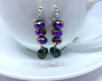 Crystal Drop Earrings made with Swarovski Xilion Hearts & Peacock Crystal Rainbow Rondelles