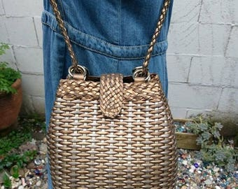 On Sale Vintage 80s 90s Metallic Woven Leather Tote Bag Purse Satchel Crossbody 1980s 1990s Boho