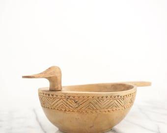 Hand Carved Wood Bird Bowl - Vintage Wooden Bowl - Carved Wood Bowl - Antique Wood Bowl