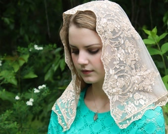 Evintage Veils~ Not Quite Perfect SALE Regina Caeli Rose Gold Champagne  Lace Chapel Veil Mantilla D Shaped Latin Mass