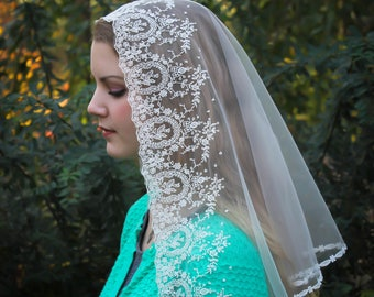 Evintage Veils~Traditional Catholic Ivory Embroidered Cameo Lace Mantilla Chapel Veil