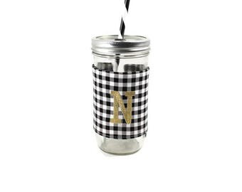 Black and White Gingham Mason Jar Tumbler, Monogrammed Tumbler, Gingham Monogram Tumbler, Mason Jar Gingham Tumbler,Unique Gift,Personalized