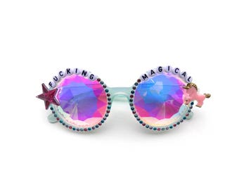 F*cking Magical decorated kaleidoscope glasses for unicorn queens everywhere ~ colorful embellished festival sunnies, diffraction glasses