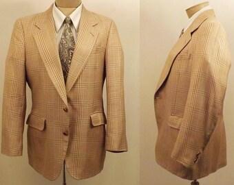 Vintage Light Brown Glen Check Sport Coat Size 42