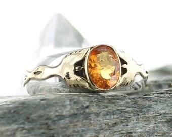 Garnet silver ring. Size 10. Natural stone. Spessartite Garnet. Phenix ring. Gold 18K. Gemstone ring orange Garnet. Engagement ring.apsarasv