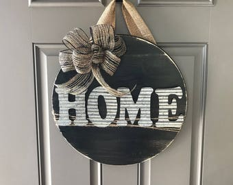 Home Door Sign, Front Door Hanger, Sign For Front Door, All Year Door Hanger, Round Door Hanger, Wood Sign, Home Door Hanger, Door Decor