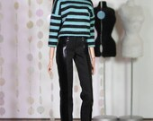 "Fashion Doll Outfit ""Stripes and Black"""
