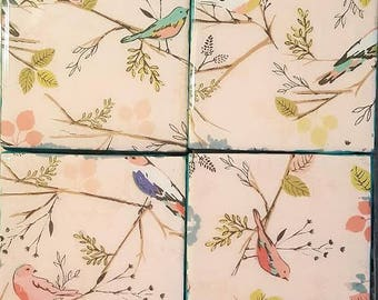 Handmade coasters birds on branches