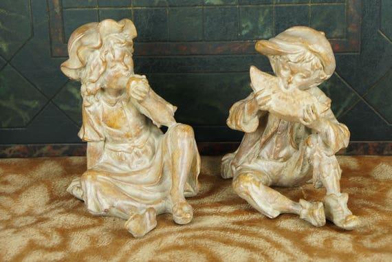 Vintage Anne-Jo Originals Figurines Little Boy and Girl Garden Statues