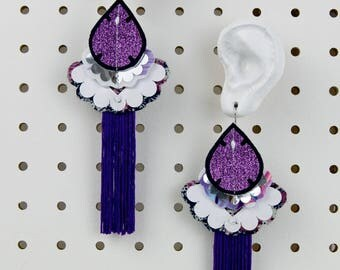 ULTRA VIOLET glittery EARRINGS with purple tassels. Light weight, oversize earrings, cut from recycled, floral fabric and hand stitched.