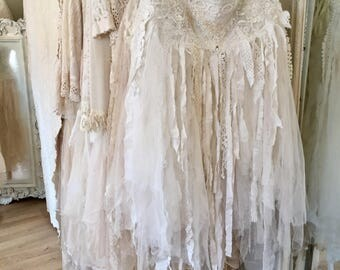 Tattered Boho beach wedding skirt,fairy airy trashed skirt, ragged antique fabric, RawRags ,white and cream romantic