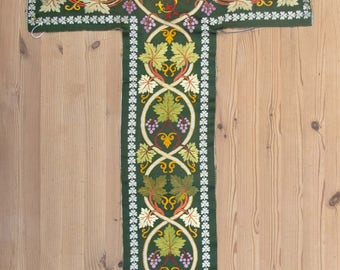 Panel of Silk Satin, Hand embroidered with Grapes and Vine Leaves, Circa 1920