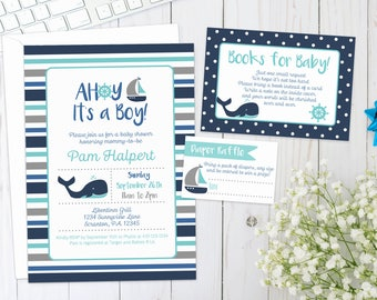 NAUTICAL BABY SHOWER Invite | Printed | Baby Boy | Invitation with whale, sailboat, anchor, ship, boat, under the sea, stripes, dots, ahoy