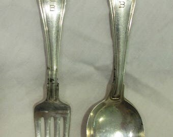 """Baby Spoon and Fork Set, Gorham Sterling Silver, Engraved """"SCB"""", 1950's"""