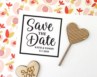 Save the Date Stamp, Modern Save the Date, Save the Dates, Wedding Stamp With Names and Date, Custom Save the Date Stamp Style No. 72W