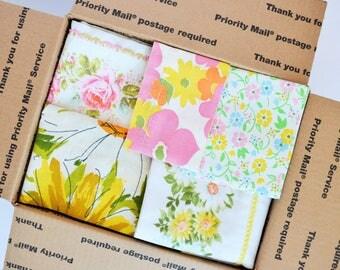 Vintage Sheet Wide Hems Scrap Pack. 46 Hems. 6 lbs. Stash Builder. Floral. Quilt Top Kit. Jelly Roll.1600 Quilt. Retro Fabric. Bundle 06