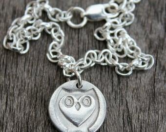Silver owl charm bracelet, tiny owl bracelet, owl charm on fine silver bracelet, wildlife charm