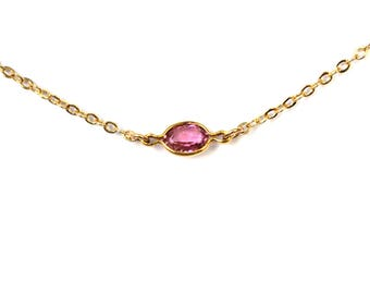 Pink Tourmaline Necklace/ Delicate Gemstone Necklace/Layering Necklace