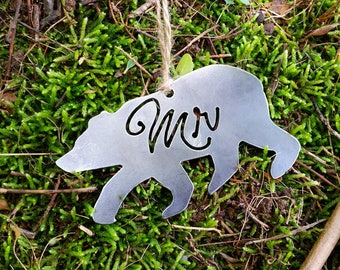 Mr Bear Ornament rustic raw Steel personalize wedding Christmas Tree Ornament Anniversary Wedding Favor By BE Creations