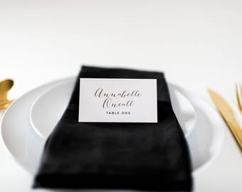 annabelle place cards / escort cards (sets of 10) // flat or folded wedding place cards / calligraphy neutral gold custom romantic